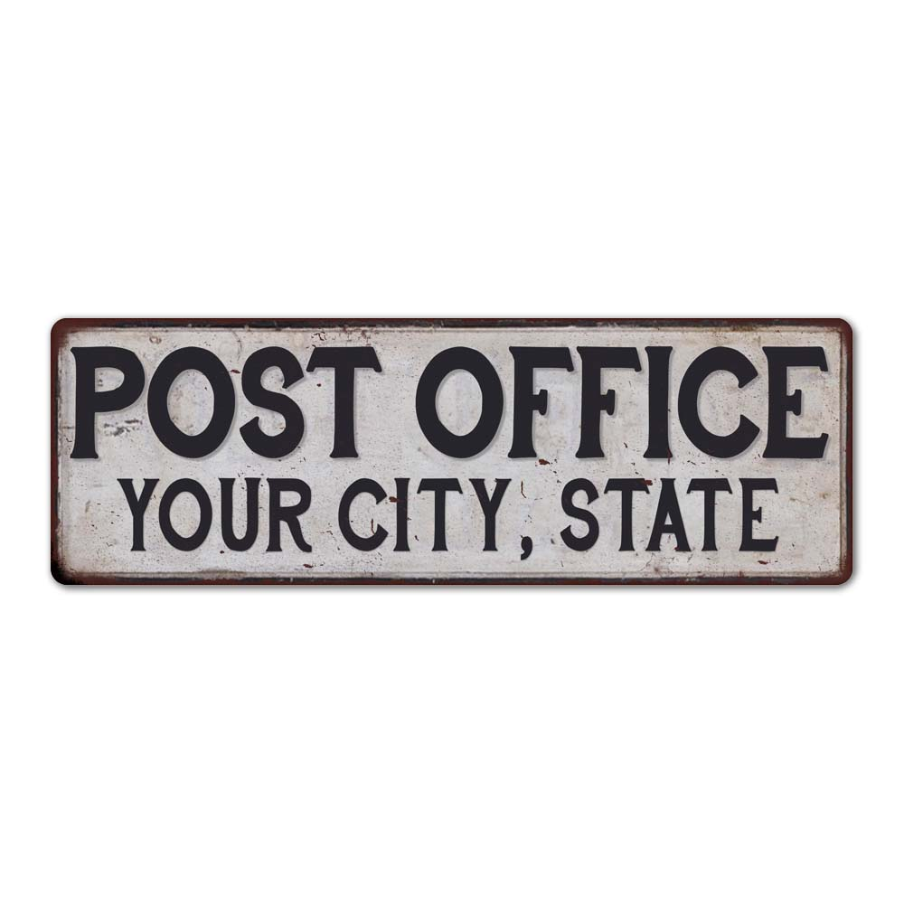 Customized POST OFFICE Metal Sign Any City, State Personalized Rustic Home Decor Gift 106180011001