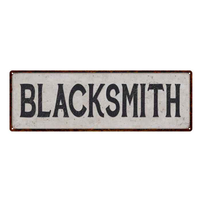 Blacksmith Vintage Look Reproduction Black on White 8x24 Metal Sign 106180023009