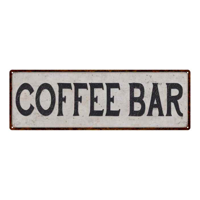 Coffee Bar Vintage Look Reproduction Black on White 8x24 Metal Sign 106180023014