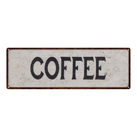 Coffee Vintage Look Reproduction Black on White 8x24 Metal Sign 106180023022