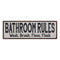 Bathroom Rules Vintage Reproduction Black White 8x24 Metal Sign 106180023029