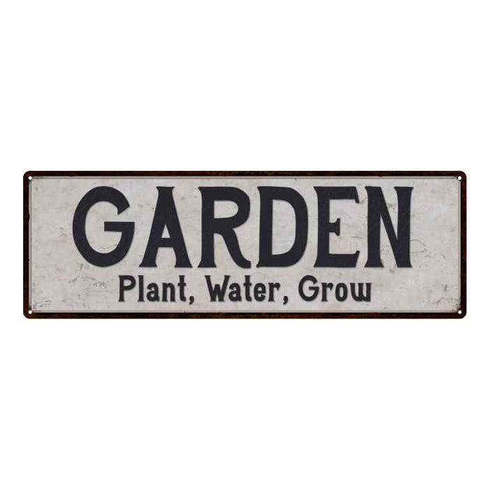 Garden Vintage Look Reproduction Black on White 8x24 Metal Sign 106180023030