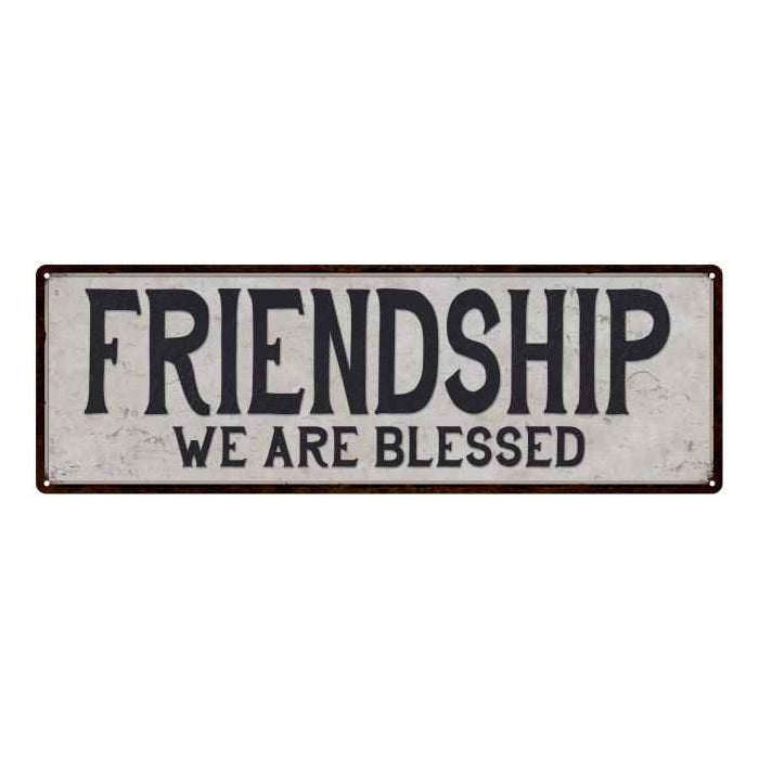 Friendship Vintage Look Reproduction Black on White 8x24 Metal Sign 106180023036