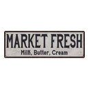 Market Fressh Vintage Look Reproduction Black White 8x24 Metal Sign 106180023046