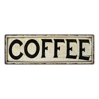 Coffee Chic Vintage Look Farm House Wall Décor 8x24 Metal Sign 106180028056