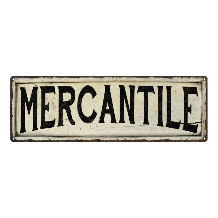 Mercantile Chic Vintage Look Farm House Wall Décor 8x24 Metal Sign 106180028073