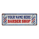 Your Name Barber Shop Hair Salon Personalized Metal Sign Retro 6x18 106180031001