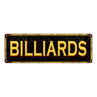 BILLIARDS Vintage Looking Metal Sign Home Decor 6x18 106180032016