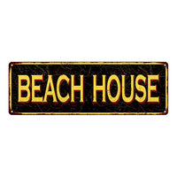 BEACH HOUSE Vintage Looking Metal Sign Home Decor 6x18 106180032018