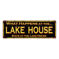 What Happens Lake House…Vintage Looking Metal Sign Home Decor 6x18 106180032021
