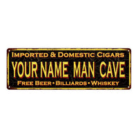 Your Name Man Cave Cigars Vintage Looking Metal Sign Home Decor 6x18 106180032022