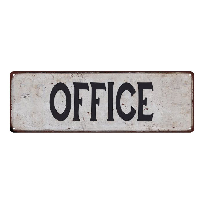 OFFICE Vintage Look Rustic 6x18 Metal Sign Chic Retro 106180035010