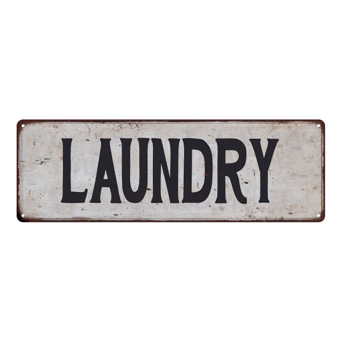 LAUNDRY Vintage Look Rustic 6x18 Metal Sign Chic Retro 106180035019