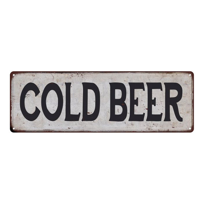 COLD BEER Vintage Look Rustic 6x18 Metal Sign Chic Retro 106180035049