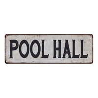 POOL HALL Vintage Look Rustic 6x18 Metal Sign Chic Retro 106180035062