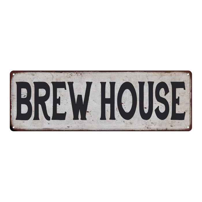 BREW HOUSE Vintage Look Rustic 6x18 Metal Sign Chic Retro 106180035070