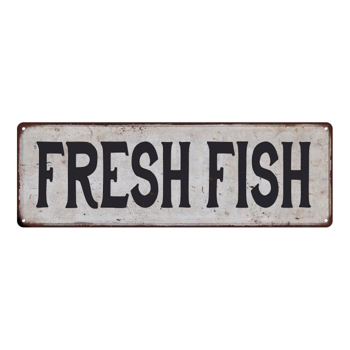 FRESH FISH Vintage Look Rustic 6x18 Metal Sign Chic Retro 106180035077