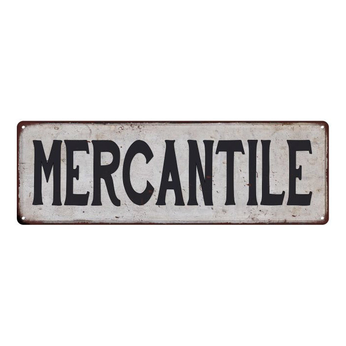 MERCANTILE Vintage Look Rustic 6x18 Metal Sign Chic Retro 106180035082