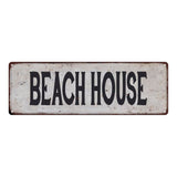 BEACH HOUSE Vintage Look Rustic 6x18 Metal Sign Chic Retro 106180035089