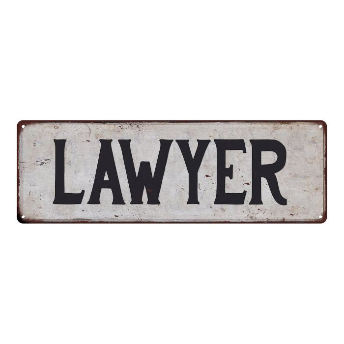 LAWYER Vintage Look Rustic Metal 6x18 Sign City State 106180041033