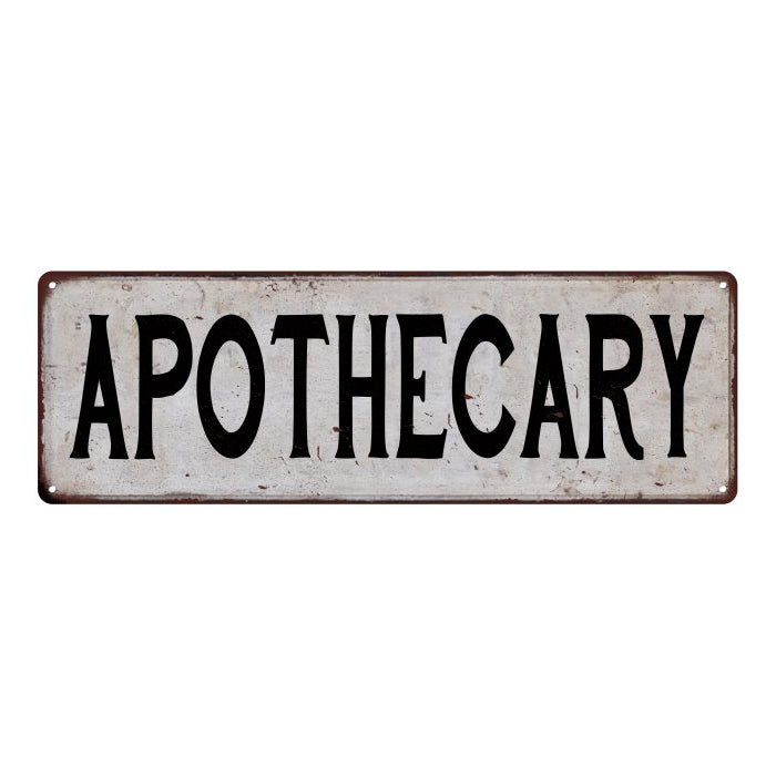 APOTHECARY Vintage Look Rustic Metal Sign City State 106180041258