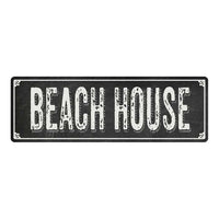 BEACH HOUSE Shabby Chic Black Chalkboard Metal Sign 6x18 Decor 106180050004