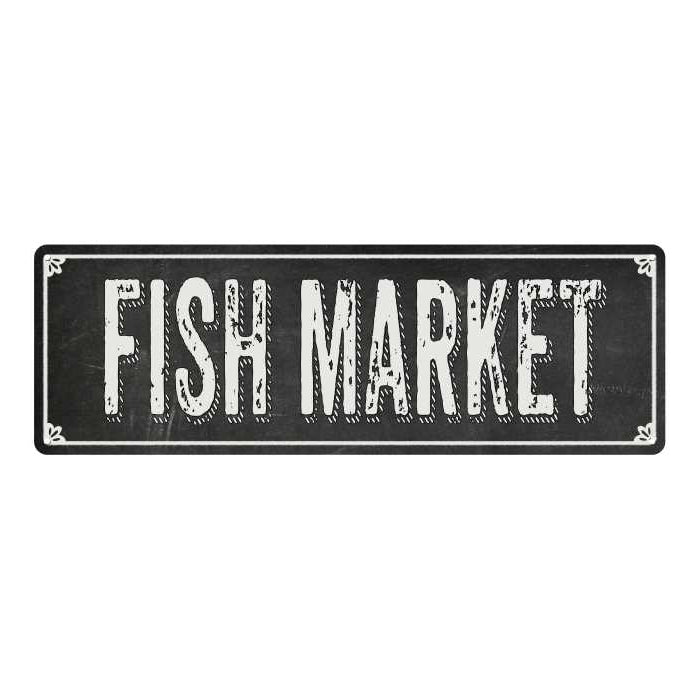 FISH MARKET Shabby Chic Black Chalkboard Metal Sign 6x18 Decor 106180050008
