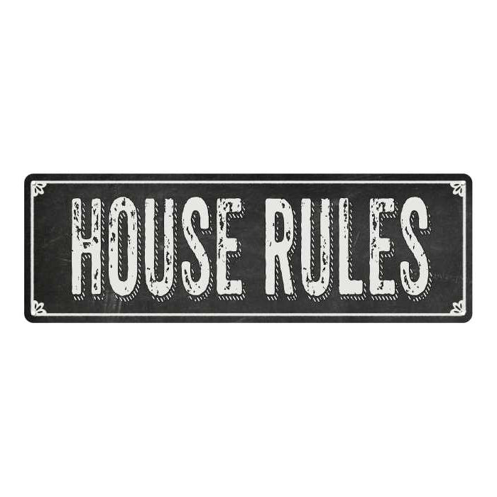 HOUSE RULES Shabby Chic Black Chalkboard Metal Sign 6x18 Decor 106180050013