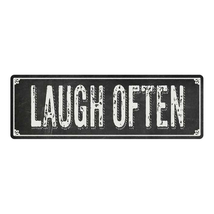 LAUGH OFTEN Shabby Chic Black Chalkboard Metal Sign 6x18 Decor 106180050014