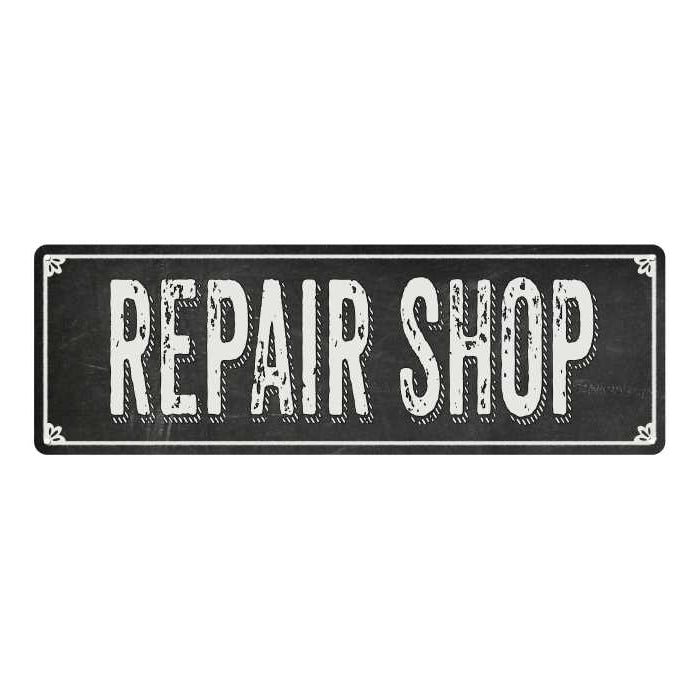 REPAIR SHOP Shabby Chic Black Chalkboard Metal Sign 6x18 Decor 106180050015
