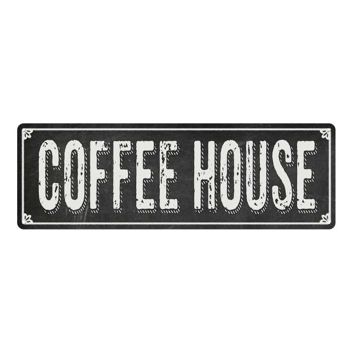 COFFEE HOUSE Shabby Chic Black Chalkboard Metal Sign 6x18 Decor 106180050021