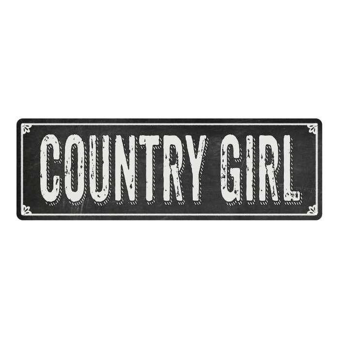 COUNTRY GIRL Shabby Chic Black Chalkboard Metal Sign 6x18 Decor 106180050023