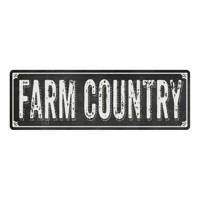 FARM COUNTRY Shabby Chic Black Chalkboard Metal Sign 6x18 Decor 106180050027