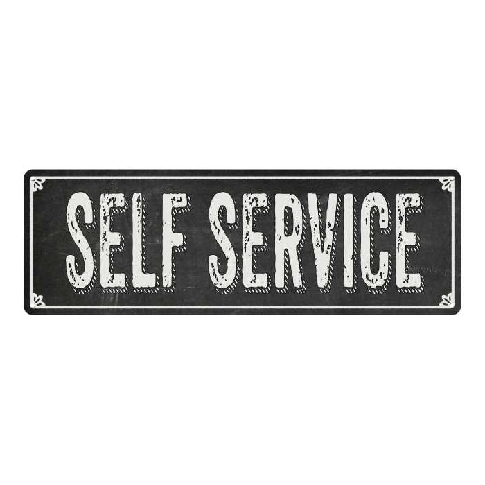 SELF SERVICE Shabby Chic Black Chalkboard Metal Sign 6x18 Decor 106180050036