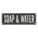 SOAP & WATER Shabby Chic Black Chalkboard Metal Sign 6x18 Decor 106180050038