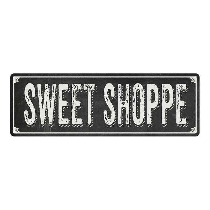 SWEET SHOPPE Shabby Chic Black Chalkboard Metal Sign 6x18 Decor 106180050040