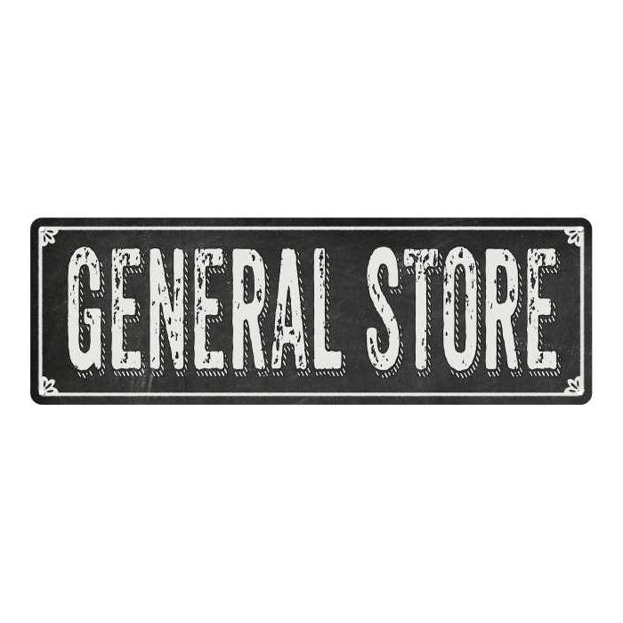 GENERAL STORE Shabby Chic Black Chalkboard Metal Sign 6x18 Decor 106180050048