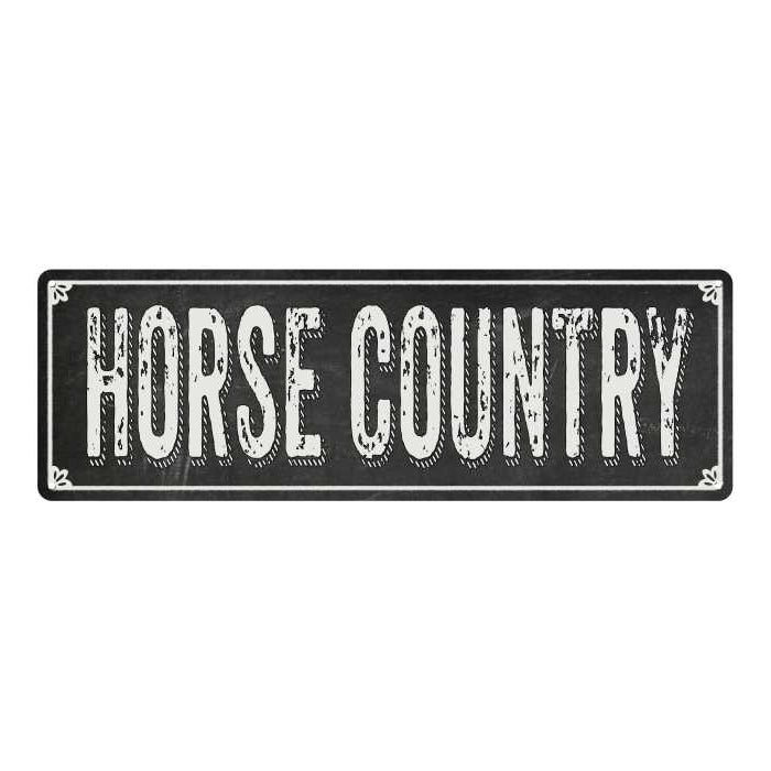 HORSE COUNTRY Shabby Chic Black Chalkboard Metal Sign 6x18 Decor 106180050049