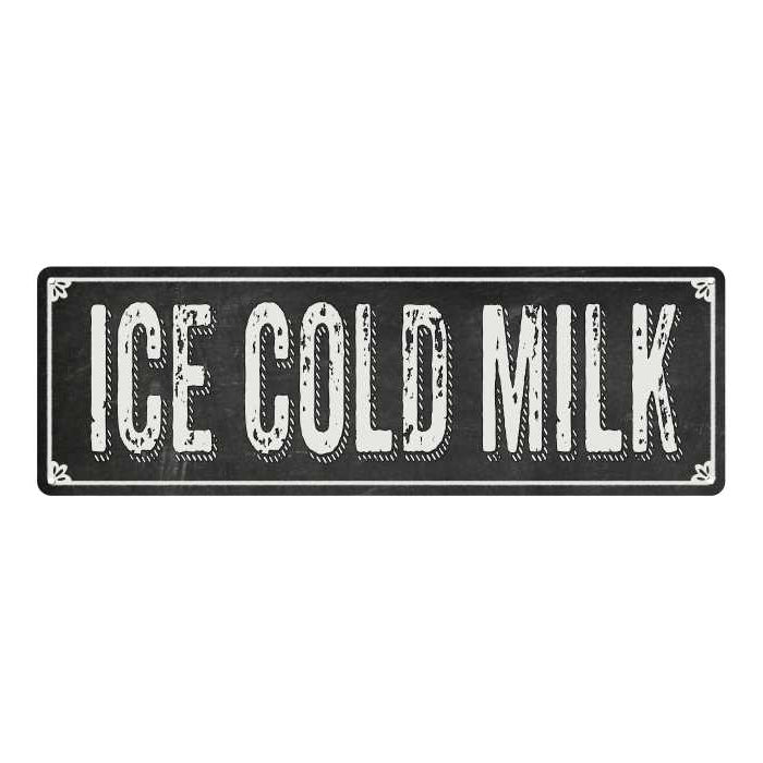 ICE COLD MILK Shabby Chic Black Chalkboard Metal Sign 6x18 Decor 106180050050