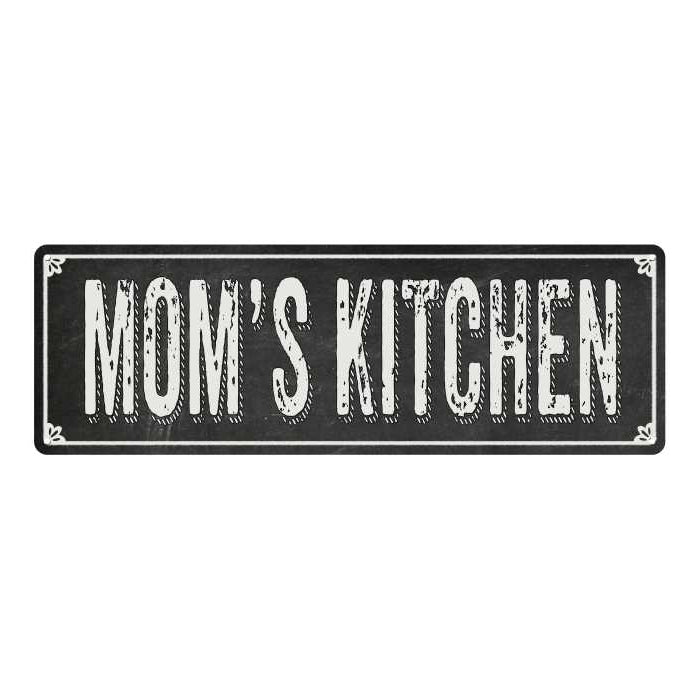 MOM'S KITCHEN Shabby Chic Black Chalkboard Metal Sign 6x18 Decor 106180050052