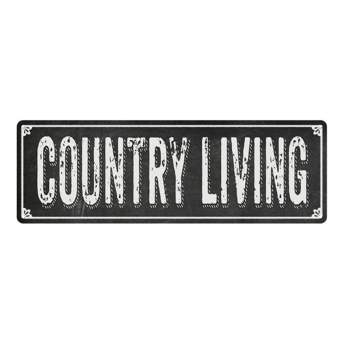 COUNTRY LIVING Shabby Chic Black Chalkboard Metal Sign 6x18 Decor 106180050054