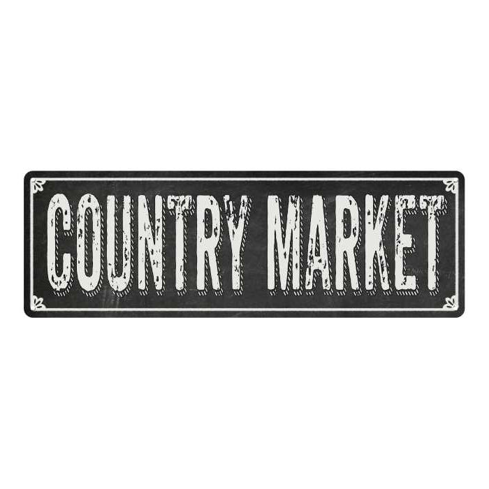 COUNTRY MARKET Shabby Chic Black Chalkboard Metal Sign 6x18 Decor 106180050055