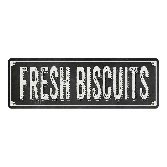 FRESH BISCUITS Shabby Chic Black Chalkboard Metal Sign 6x18 Decor 106180050060