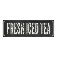FRESH ICED TEA Shabby Chic Black Chalkboard Metal Sign 6x18 Decor 106180050061