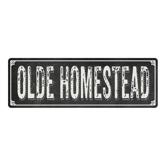 OLDE HOMESTEAD Shabby Chic Black Chalkboard Metal Sign 6x18 Decor 106180050063
