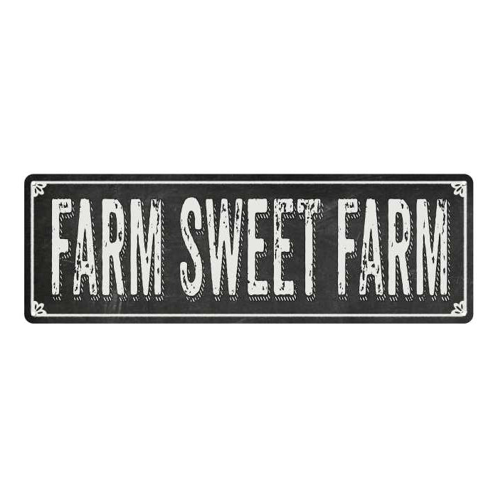 FARM SWEET FARM Shabby Chic Black Chalkboard Metal Sign 6x18 Decor 106180050068