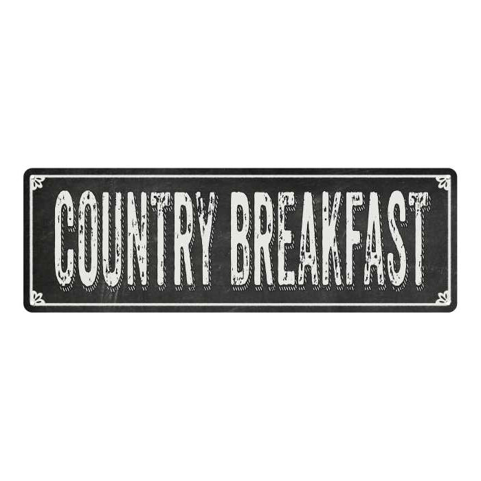 COUNTRY BREAKFAST Shabby Black Chalkboard Metal Sign 6x18 Decor 106180050074