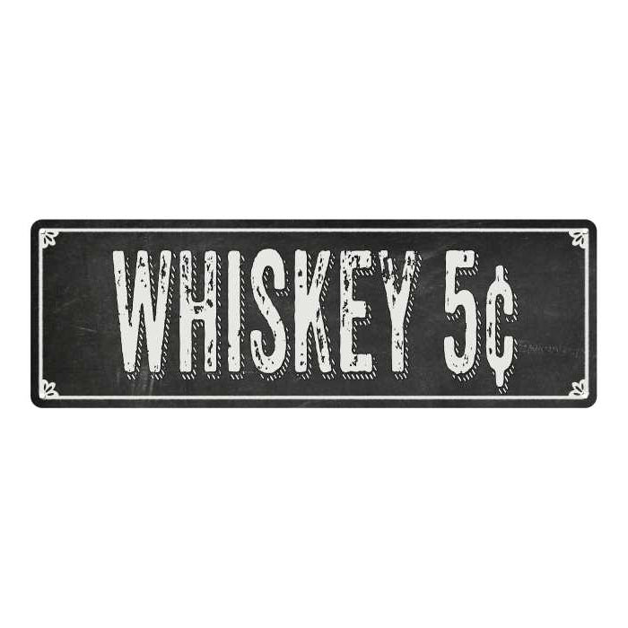 WHISKEY Shabby Chic Black Chalkboard Metal Sign 6x18 Decor 106180050077