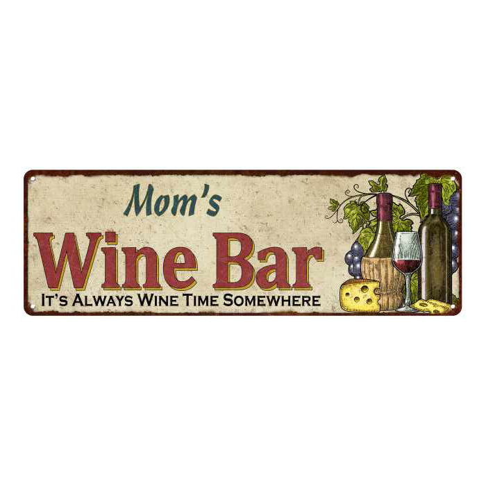 Mom's Wine Bar Personalized Home Decor Metal Gift 6x18 Sign 106180052202