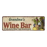 Grandma's Wine Bar Personalized Home Decor Metal Gift 6x18 Sign 106180052203